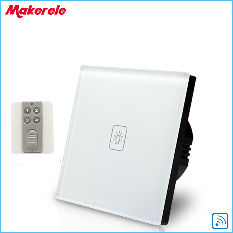 Remote Touch Switch EU Standard 1 Gang 1way RF Remote Control Light Switch UK Standard Crystal Glass Panel with Remote controL eu uk standard sesoo remote control switch 3 gang 1 way crystal glass switch panel wall light touch switch led blue indicator