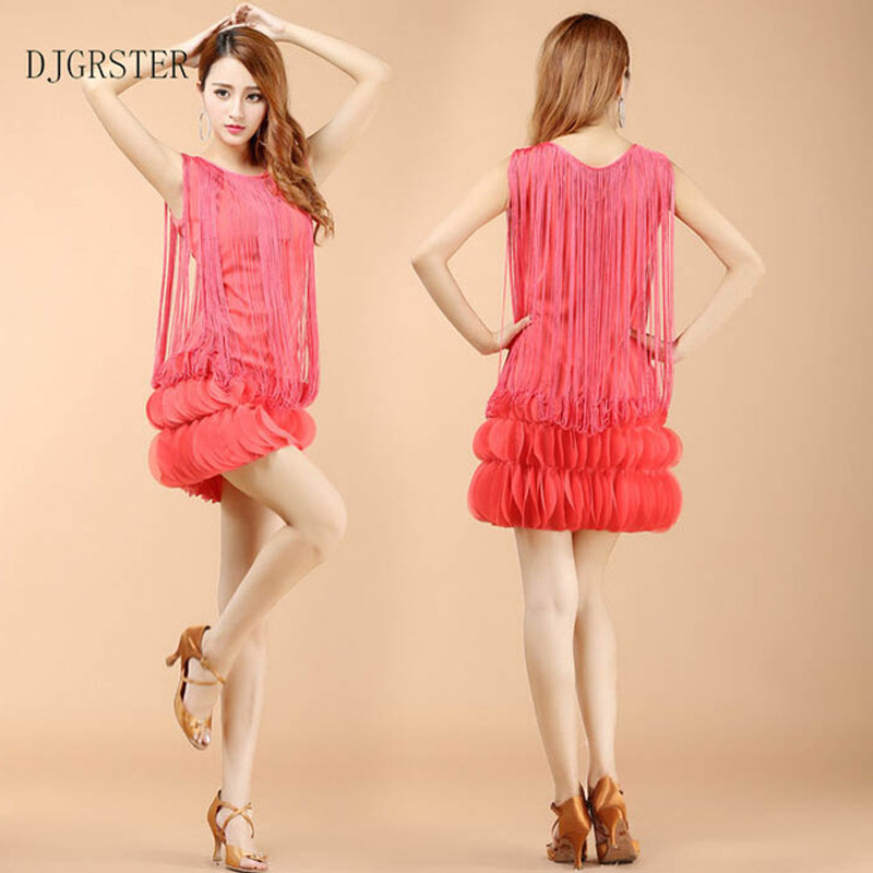 DJGRSTER New Arrival Ballroom Dance Dress Samba Costume for Women Professional Latin Skirt Tassel Style Competition Costume