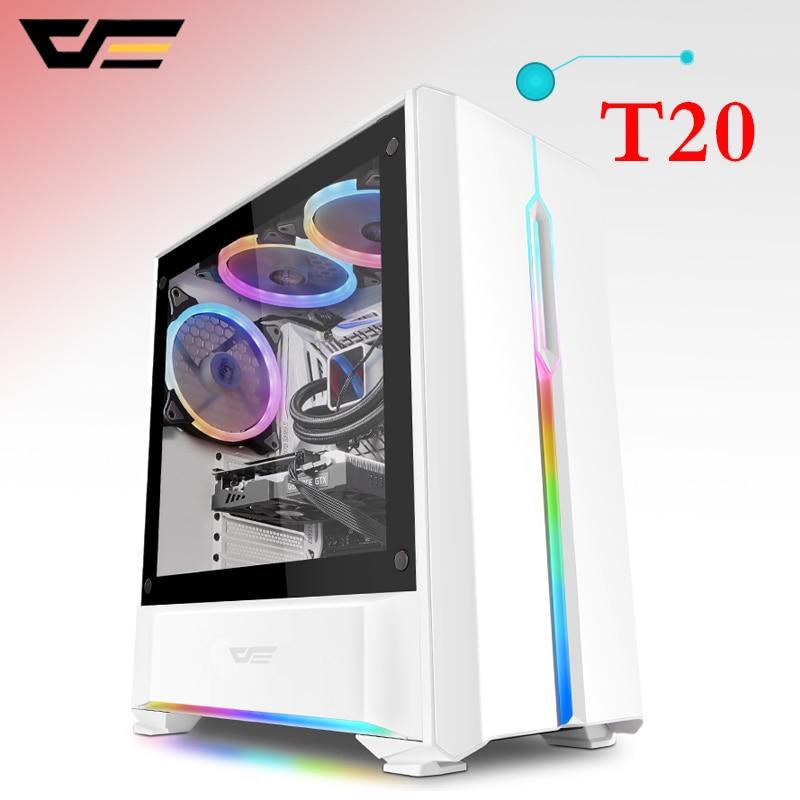Caixa Do Computador de Vidro Temperado darkFlasT20 para Home Office Gaming PC Desktop Computer Chassis Caso M-ATX ATX ITX Gabinete Do Computador USB