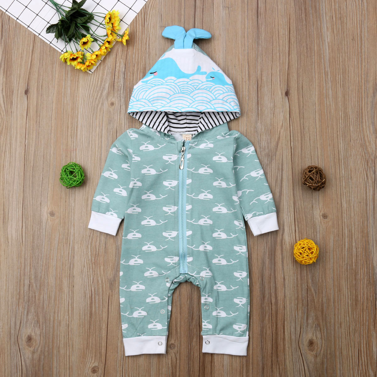 Newborn Baby Boy Girl Autumn Cartoon Hooded   Romper   Jumpsuit Outfit Clothes 0-18M