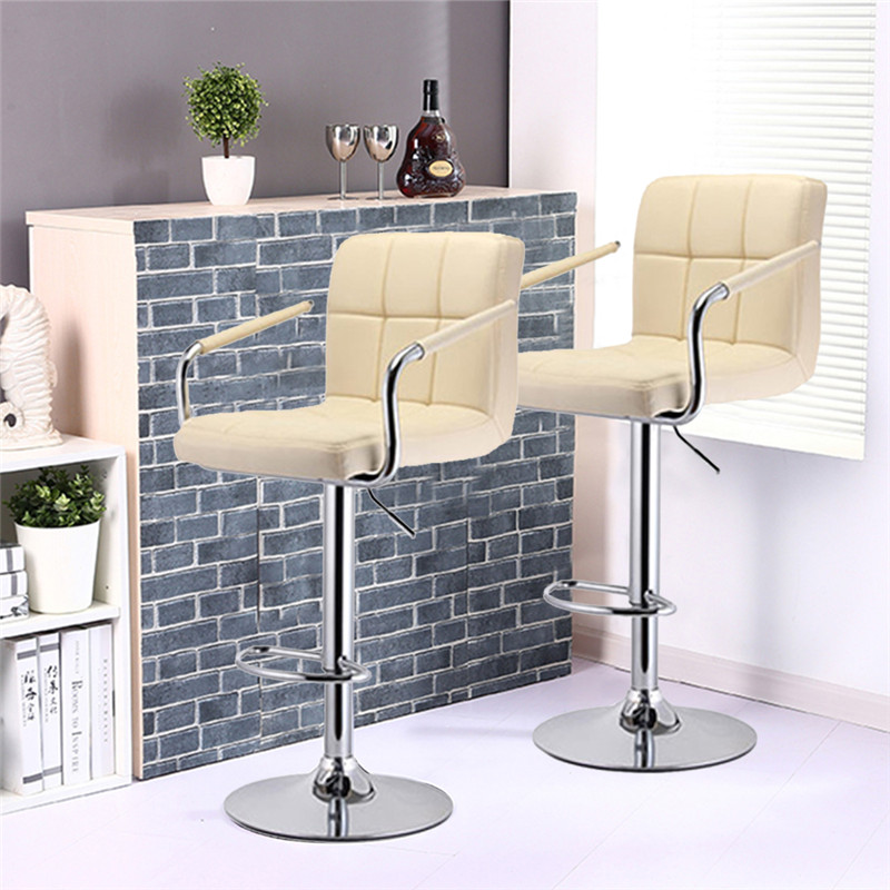 Six-grid Cushion Chair Synthetic Leather Swivel Bar Stools Height Adjustable Chairs With Footrest Armrest 2Pcs/set HWC