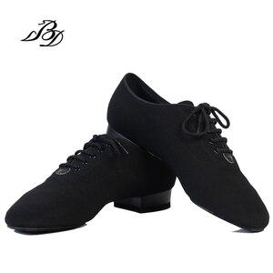 Image 2 - スニーカーbdダンスシューズ男性靴スクエアダンス社会社交ラテンシューズ309黒317現代の靴ホットオックスフォード布ヒール25ミリメートル