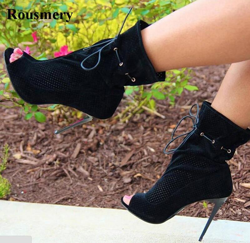Wrap Mujeres Alta Zapatos Alto De Tacón Encaje Toe Gladiador Suede Tobillo Calidad Cuero Negro Abierto Moda Botas 114SrYF