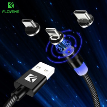 FLOVEME Magnetic Cable For iPhone LED Micro USB Cable For Xiaomi Type-C Magnet Nylon Phone Cobo For Samsung Huawei 5V/2A Charger