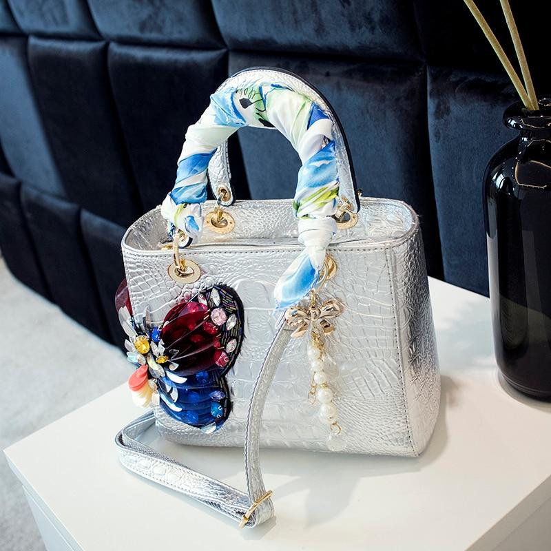 Image 2 - 2020 Luxury fashion diamonds Womens handbags butterfly drill  rhinestone shoulder messenger bag Crocodile pattern crossbody  bagsShoulder Bags