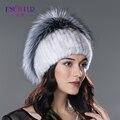 Женщины зима меховая шапка из реальных природных норки silver fox меховой шапки 2016new хорошее качество fashional изящные трикотажные достаточно тепло hat
