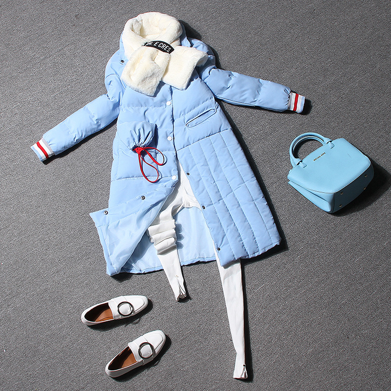 2016 new European style women long cotton coat letter printing down asymmetry long coat jacket DWW6602