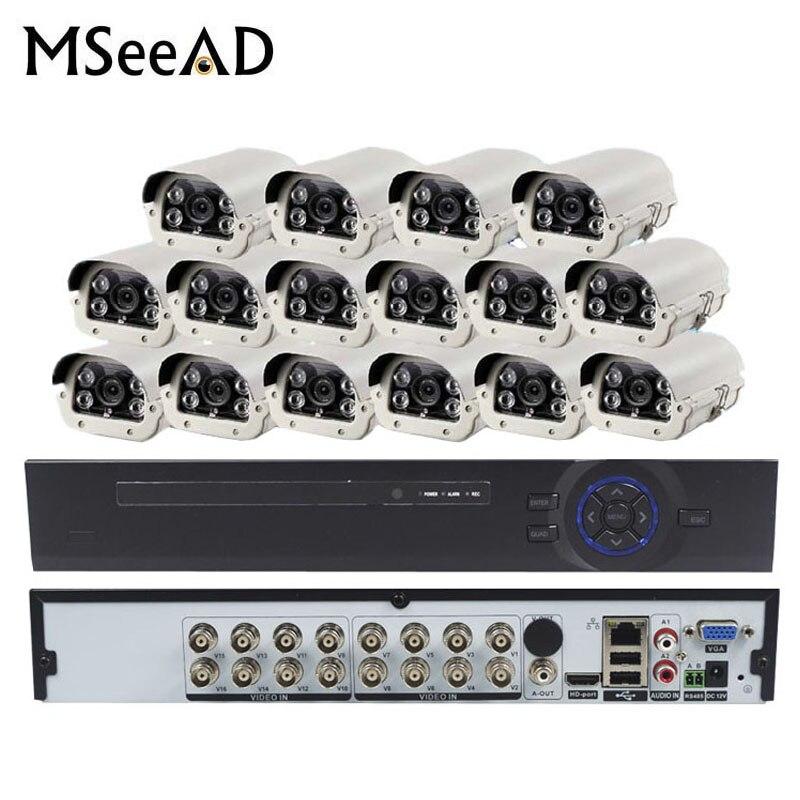 2.0MP AHD Extérieur Surveillance Système De Caméra De Sécurité CCTV Kit Avec 16CH 1080 P 16 Canaux Et 16 pièces IR 50 M Caméras Résistant Aux Intempéries