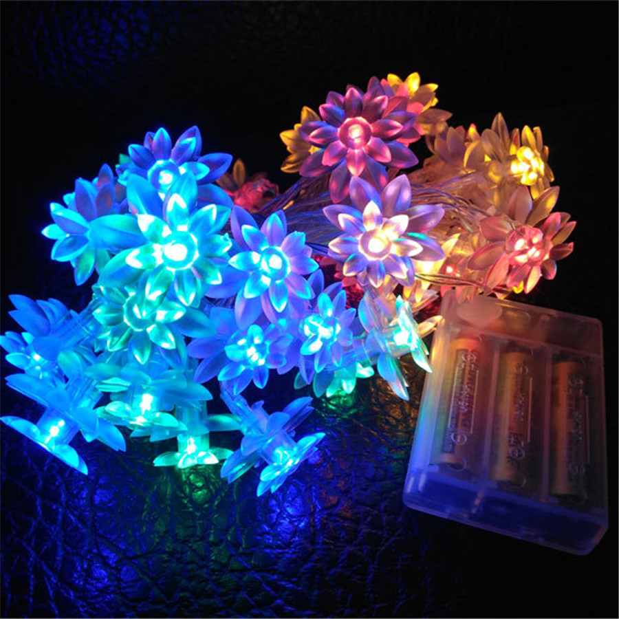 Lights-Decoration Lamps Garlands Fairy-Light Flash-Flower Christmas New-Year's Battery