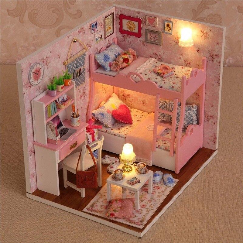 Casa di Bambola di legno Giocattoli Fatti A Mano Con Mobili Montaggio FAI DA TE Modello In Miniatura Kit Per Bambini di Età Regalo di Bellezza Per Le Donne Della Ragazza