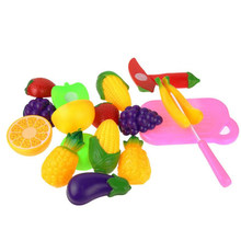 Hot 11PC Cutting Fruit Vegetable Pretend Play Children Kid Educational Toy Gift Nov03(China)
