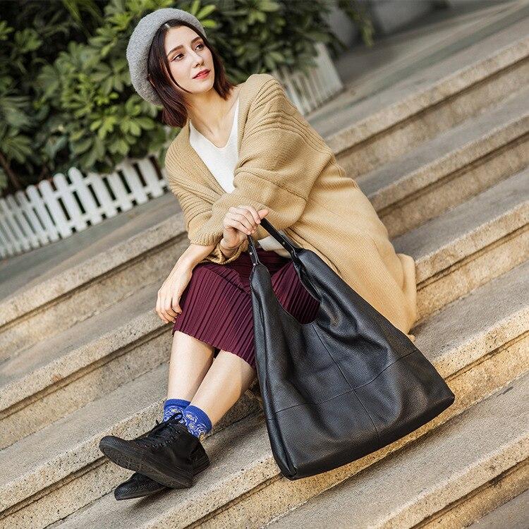 Womans Designer Weichen Taschen Black Handtasche Marke Frauen 2018 Echtes Rindsleder Tasche Tragetaschen Schulter Leder Für Damen Große Kapazität q4wOE1