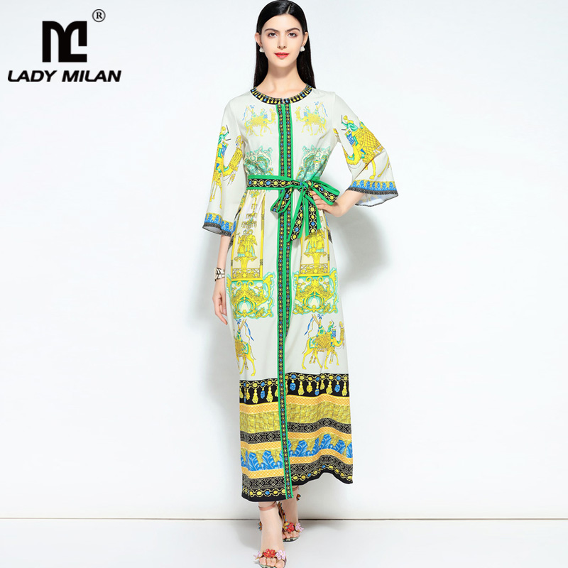 New Arrival Womens O Neck 3/4 Sleeves Printed Sash Belt Loose Design Fashion Long Casual Pajamas Dresses