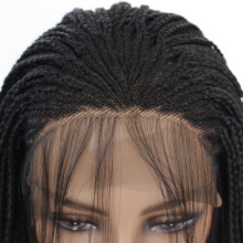 1B# Color Synthetic Lace Front Braid Wig For Black Women Heat Resistant American Braided Artificial Hair Braids Wigs