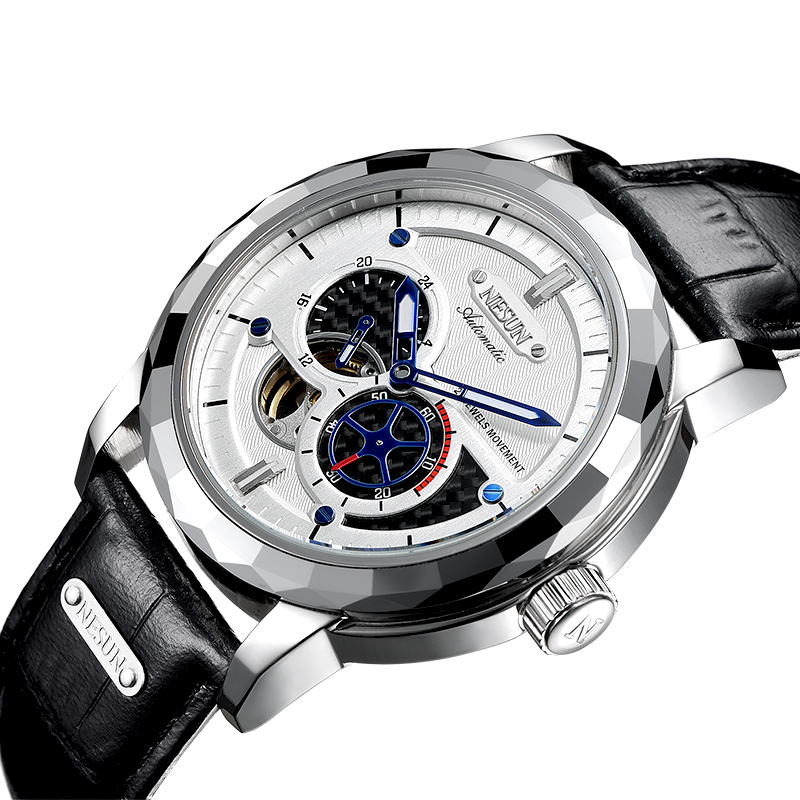 все цены на Switzerland Luxury Brand NESUN Skeleton Tourbillon Watch Men Auto Self-Wind Men's Watches 100M Waterproof Sport clock N9810-3 онлайн