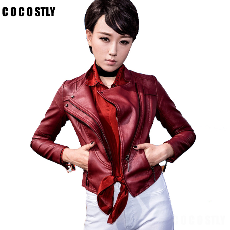 High Quality Women faux   leather   motorcycle jackets chaquetas de cuero mujer 2018 black casual slim fit short coat plus size 4XL