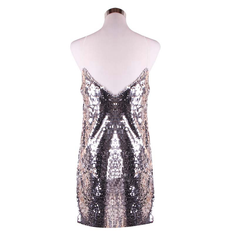 Sequined Stitching Sexy Halter Strap Dress Deep V neck Flash Vestidos De Verano Dress Summer Women Gothic Club Dress 60j181 in Dresses from Women 39 s Clothing