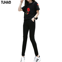 2 Pieces Women Set Women Summer Black Color Suit Big Size XL 4XL Elegant Lady Tracksuit
