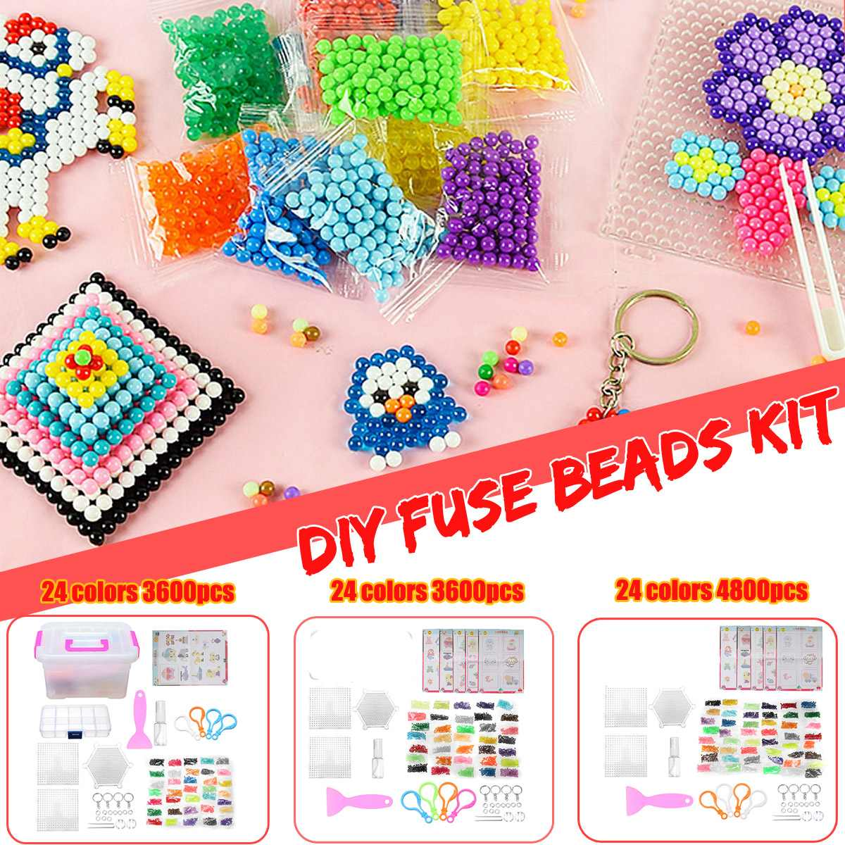 3600/4800pcs 24 Colors DIY Fuse Beads Water Sticky Beads Fun Art Craft  Intelligence Toys Kids Adult Novelty Gift Present Set