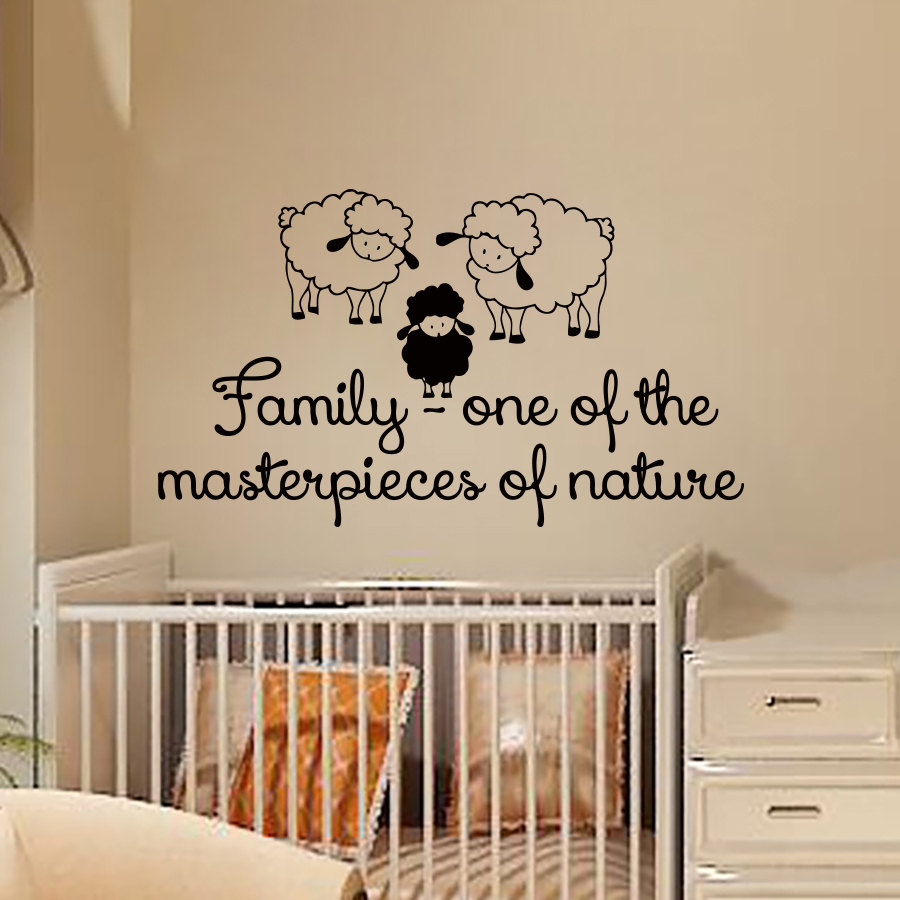 Family One Of The Masterpieces Nature Three Sheep Wall Stickers Vinyl Removable Art Decals For Kids Baby Room Home Decor In From