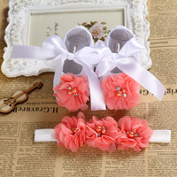 Rhinestone 2016 Newborn Shoes Baby Hair Accessories Set Toddler Flowers Baby Girl Shoes Baby Lace Bow