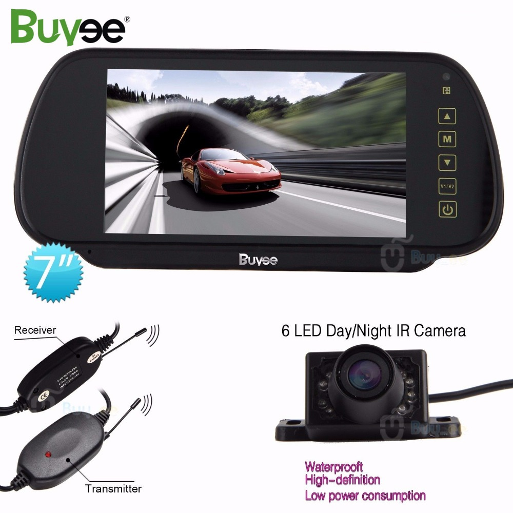 все цены на Buyee 7'' TFT LCD Rearview display Car Mirror Monitor with camera 6 LED IR Car Reverse Parking Camera Vehicle cam wireless kit онлайн