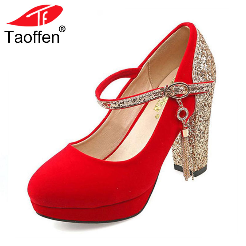 TAOFFEN women stiletto buckle high heels ankle strap sexy shoes water proof quality wedding pumps heeled shoes size 32-43 P23484 taoffen women high heels shoes women thin heeled pumps round toe shoes women platform weeding party sexy footwear size 34 39