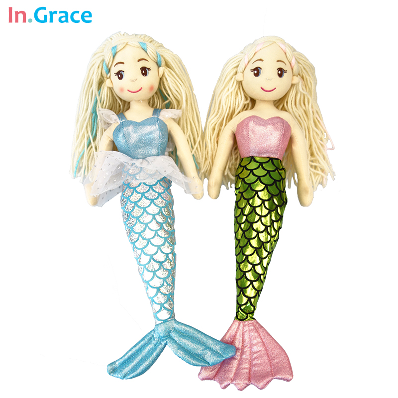 princess style mermaid dolls high quality stuffed doll 8 colors 45cm best gift toys for kids girls dream blue beauty cloth doll