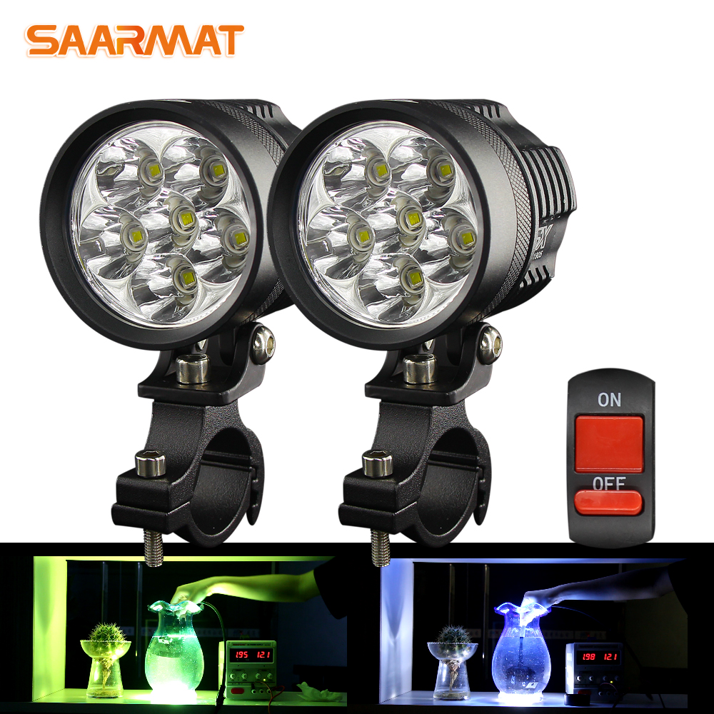 SAARMAT Dual-Color White Yellow Motorcycle Headlight Led With Cree Chip DRL Fog Lights Scooter Spotlight LED Motorbike ATV Light