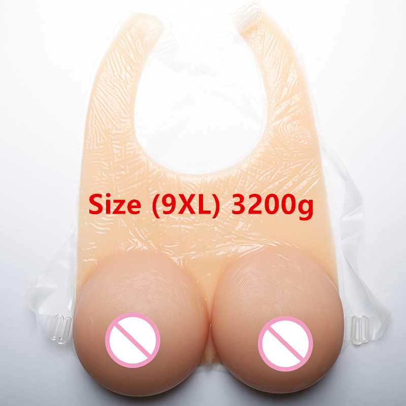 Straps Conjoined Breast Huge Cup 3200g/pair Crossdresser Transsexual Artificial Fake Boobs Realistic Silicone Breast Forms 1200g realistic silicone breast forms with straps crossdresser transsexual boobs enhancer