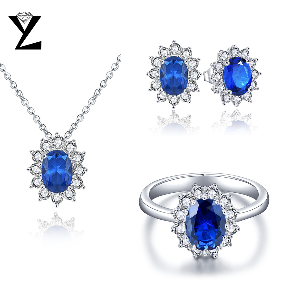 YL Jewelry Set 925 Sterling Silver  Bridal Stone Necklace Earring Ring Set for Women Wedding Fine Jewelry