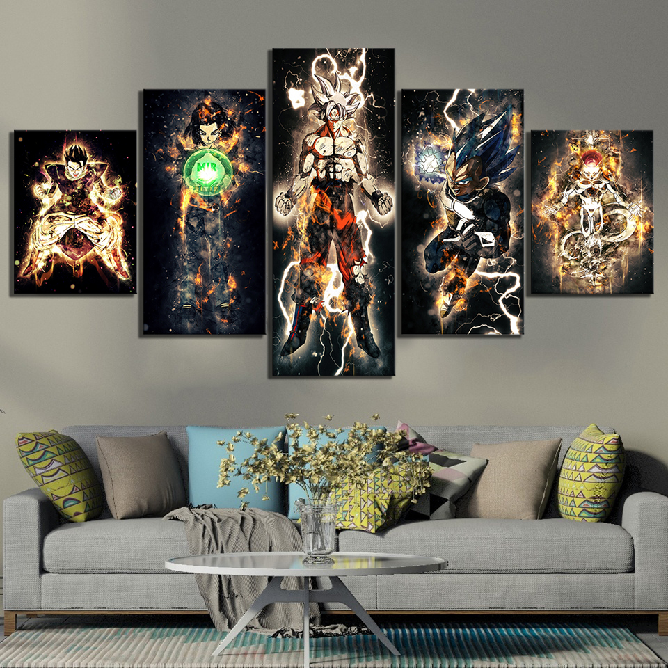 5 Piece Abstract Art Pictures Dragon Ball Super Anime Poster Paintings Canvas Art for Home Decor Wall Art 1