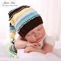 Adereços fotografia de recém-nascidos do bebê boy girl malha elf chapéu listrado com cauda traje crochê bebê chuveiro dom acessórios de estúdio