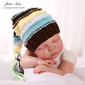 Newborn photography props baby boy girl knitted elf striped hat with tail crochet costume baby shower gift studio accessories