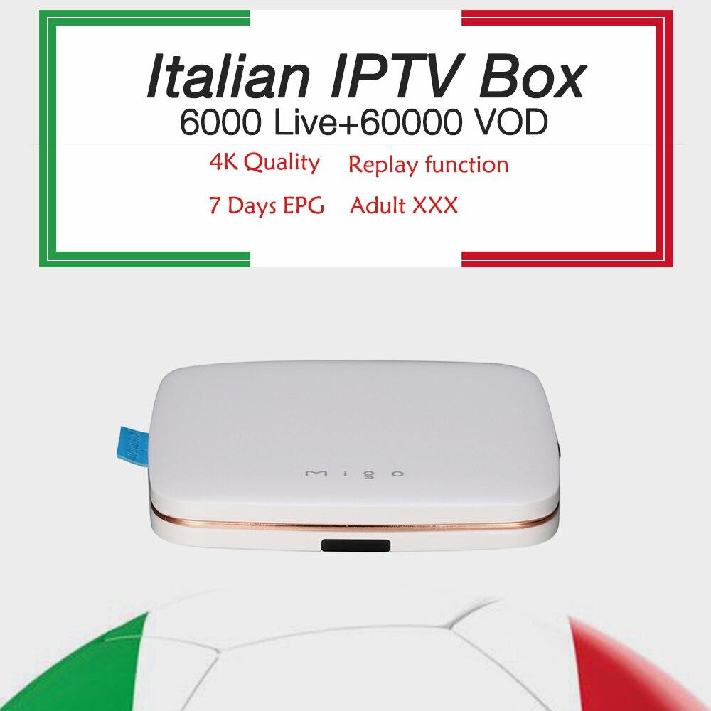 Italian IPTV Migo Android TV Box 1G/8G H.265 Mediaset Premium smart tv box +Italy iptv best europe iptv Arabic iptv free ship