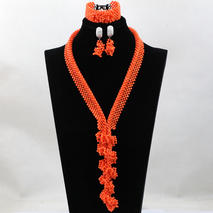 African Coral Beads Nigerian Handmade Jewelry Set Fashion Statement Necklace Set 2017 Free Shipping HX754 new fashion nigerian african wedding coral beads jewelry set chunky statement necklace set full beads free shipping cnr345