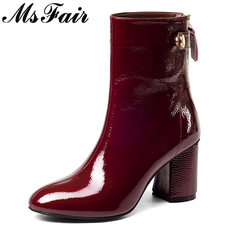 MSFAIR Round Toe Square heel Women Boots Metal Buckle Zipper Ankle Boots Women Shoes Genuine Leather Ankle Boots Shoes Woman msfair women pointed toe high heel boots genuine leather metal buckle women ankle boots winter thin heel ankle boots women shoes