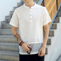 Solid Men T shirt Linen Tops Harajuku Off White Vintage Chinese Style Riverdale 2018 Summer Fashion Slim Tee Plus Size 5XL