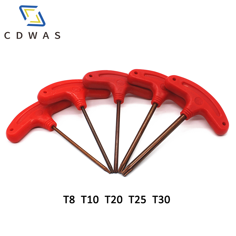 T8 T10 T20 T25 T30 <font><b>T</b></font> Type Screw <font><b>Torx</b></font> Key Flag Wrench Box End Wrenches Red Color for CNC Tool Holder hand tool image