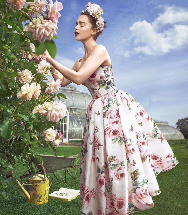 2019 New Fashion Rose Flower Print Pleated Slim Fresh Temperament Straps Fluffy Dress Casual Holiday Woman Dresses