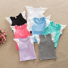 2016 Sweet Kids Girls Lace Sleeve Cotton Tees Summer Infant Baby Multi Color Ruffles Western Cute Baby Tops