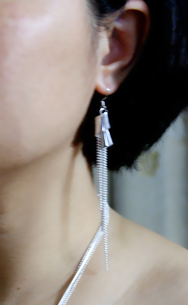 Fashion 925 Sterling Silver Long Tassel Earrings New Design Cute Girl Gift Silver Jewelery Anti-allergic Solid Silver Earrings