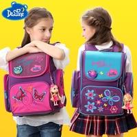 Hot Sale Delune Orthopedic Backpack for girls Flower Children School Bags 3d butterfly School Satchel Mochila Infantil Grade 1 3