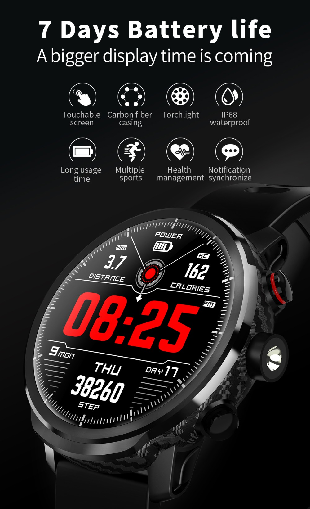 LEMFO L5 IP68 Waterproof Smart Watch For Men With Sports Mode Heart Rate Monitoring And Weather Forecast 2