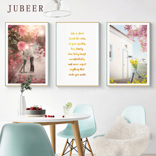 Nordic Blue Pink Canvas Painting Landscape Combination Decorative Painting Wall Art Print for Living Room Home Decor