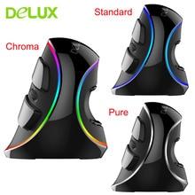 Delux M618 Plus RGB Проводная вертикальная мышь эргономичная USB 4000 dpi оптическая подставка для запястья Беспроводная игровая мышь для ПК настольного ноутбука
