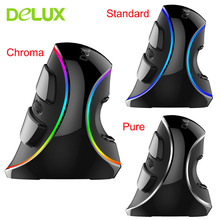 Delux M618 Plus RGB Wired Vertical Mouse Ergonomic USB 4000 DPI Optical Wrist Rest Wireless Game Mice For PC Desktop Laptop