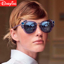 New Fashion Women Sunglasses Luxury rhinestone Oversize Sunlgasses UV400 Gradient Vintage eyeglasses frames for Wo free shipping