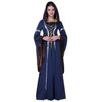 Maxi Suknia średniowieczna Goth Halloween Kobiety Jesień Lace-Up O-Neck Czarna Sukienka Retro Gothic Suknie Party Prom Witch Coseplay