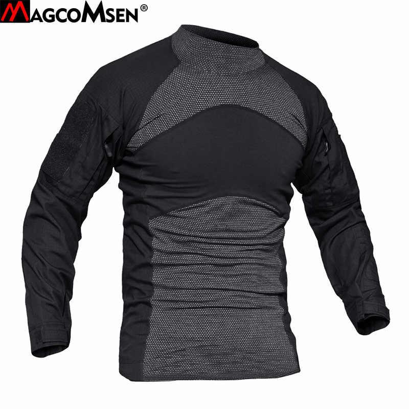 Футболки MAGCOMSEN мужские с длинным рукавом камуфляжные тактические футболки Slim Fit Multicam военные армейские футболки мужская одежда AG-YWWS-19
